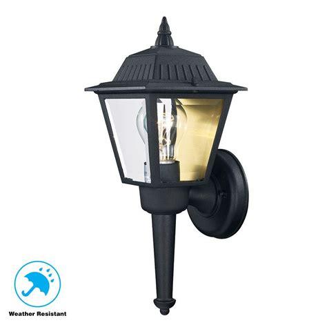 hton bay 1 light black outdoor wall lantern kb