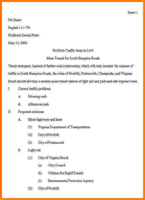 Apa Outline Template Pa Outline Images Search