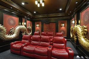 Asian Theme Custom Theater Room - Asian - Home Theater