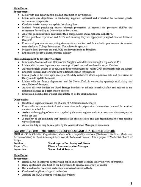 storekeeper resume   resume sample