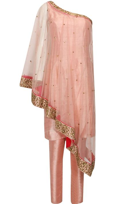 cape designs blush pink dabka and sequins embroidered one shoulder cape