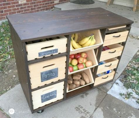 build  mobile kitchen island unit  timber crate