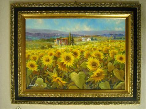 quadri con cornice dipinto olio su tela co di girasoli con cornice in
