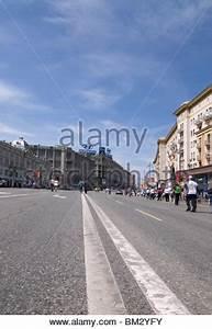 Traffic on Tverskaya Street, Moscow, Russia Stock Photo ...