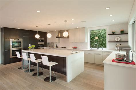 kitchen island cart with breakfast bar flat panel cabinets for contemporary kitchen with white