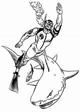 Coloring Diving Sharks Pages Action Sheet sketch template