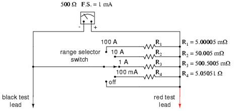 Ammeter Design Metering Circuits Electronics Textbook