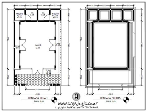 desain gambar kerja layout  tampak masjid kecil