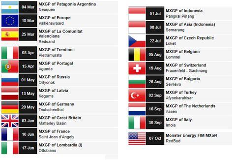 calendrier championnats du monde motocross mxgp