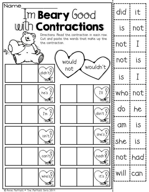 15 best images of for second grade contraction worksheets second grade contraction worksheets
