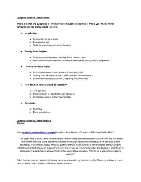 Thesis Template Computer Science Thesis Format