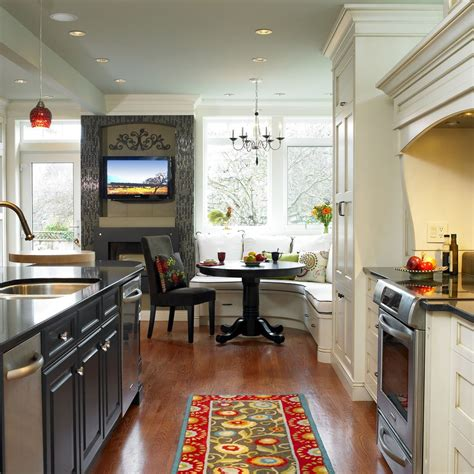 kitchen booth seating transitional   tone cabinets