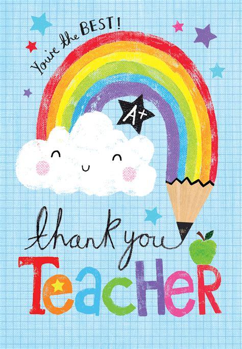rainbow pencil tarjeta de apreciacion   profesor