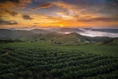 Summer Sunrise Korea Mountain Landscape Nature South