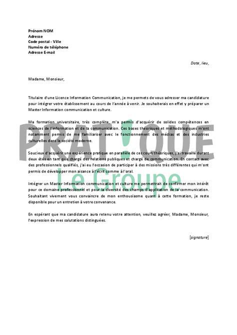 lettre de motivation pour un master information communication et culture pratique fr