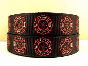 Firefighter - Fire Dept - BLACK - 1 inch