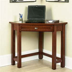 Home Office Small Dark Brown Wooden Corner Desk For Small