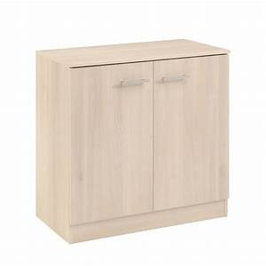 Meuble Bas Porte : meuble de rangement bas 2 portes galaxy acacia ~ Edinachiropracticcenter.com Idées de Décoration