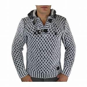 Gros Pull Laine Homme : pull laine homme capuche blanc ~ Louise-bijoux.com Idées de Décoration