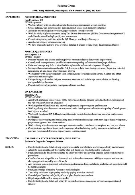 qa engineer resume sles velvet jobs