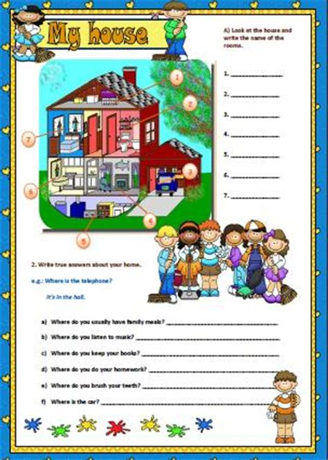 rooms   house worksheet