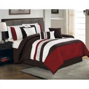 hallmart ethan 7 pc king comforter set red brown walmart com