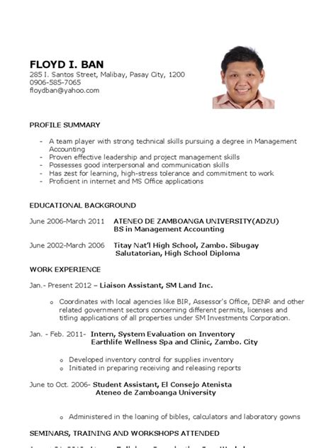 sample resume  fresh graduates accounting science