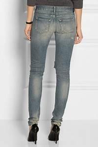 Saint Laurent | Shredded chain-embellished skinny jeans | NET-A-PORTER.COM