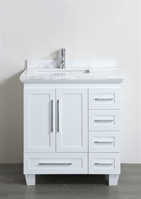 Small White Vanity by Accanto Contemporary 30 Inch White Finish Bathroom Vanity