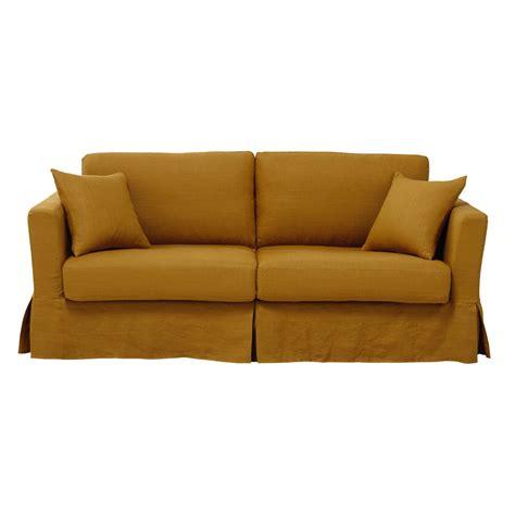 ausziehbares 3 sitzer sofa aus leinen senfgelb royan maisons du monde