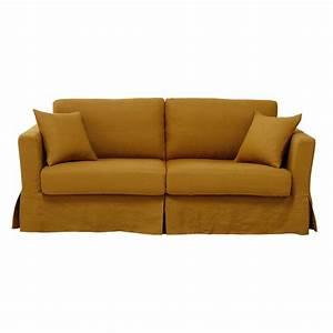 canape convertible 3 places en lin lave jaune moutarde With tapis jaune avec magasin destockage canapé bordeaux