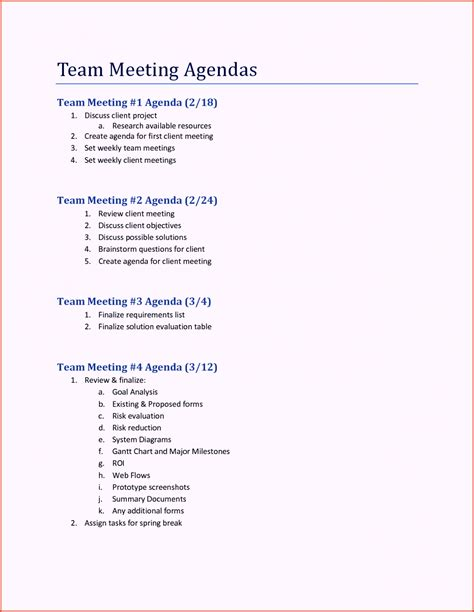 Meeting Agenda Template Staff Board Team Meeting Agenda Template Word Excel
