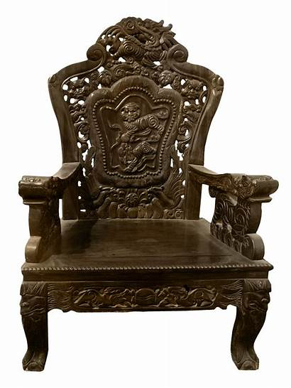 Chair Wooden Transparent Carved Clipart Furniture Clip