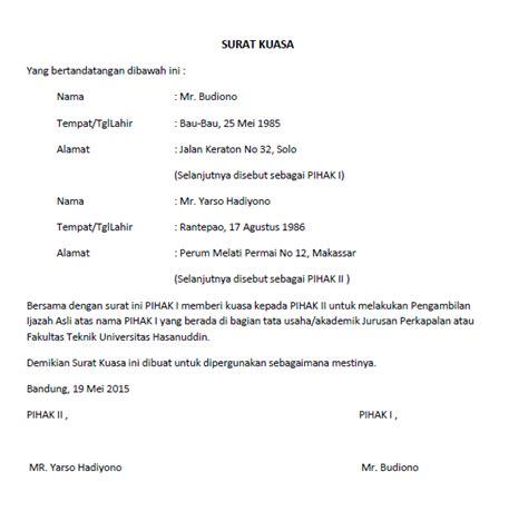 Contoh Surat Kuasa Pengambilan Berkas by Surat Kuasa Lengkap Untuk Berbagai Keperluan Seruni Id