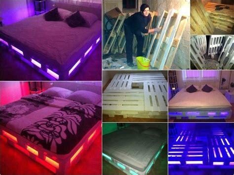 veilleuse chambre à coucher un lit lumineux avec des palettes de bois banc terrasse