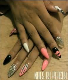 Pink Black and Silver Nail Design