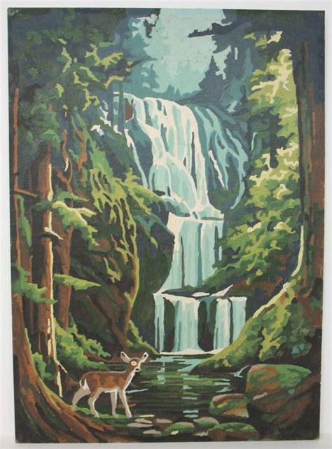 water fall paint  number oil painting