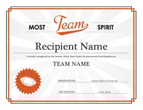 tke award certifricate template team spirit award certificate