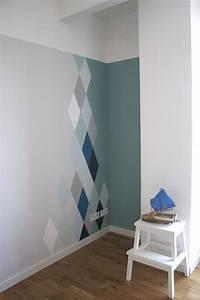 Farbe Wand Ideen : wandgestaltung mit rauten modern design und farbe ~ Markanthonyermac.com Haus und Dekorationen