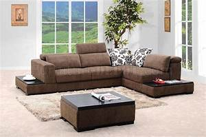 brown fabric modern sectional sofa w matching coffee table With matching sofa and coffee tables