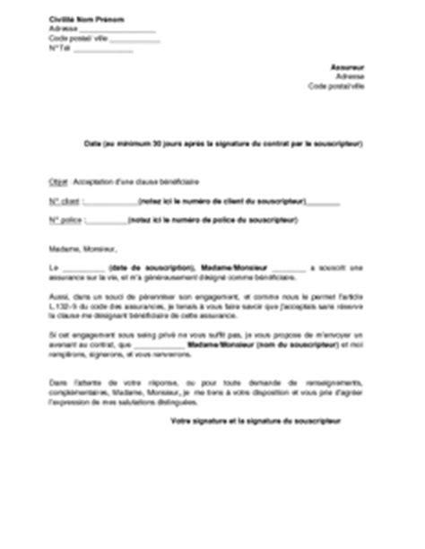 exemple gratuit de lettre acceptation clause b 233 n 233 ficiaire