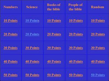bible jeopardy games  home school sunday school  home