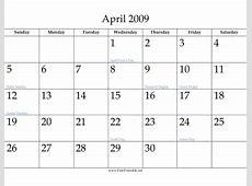 Printable April 2009 Calendar