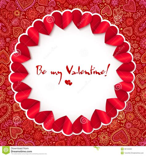 red circle valentines day greeting card template stock