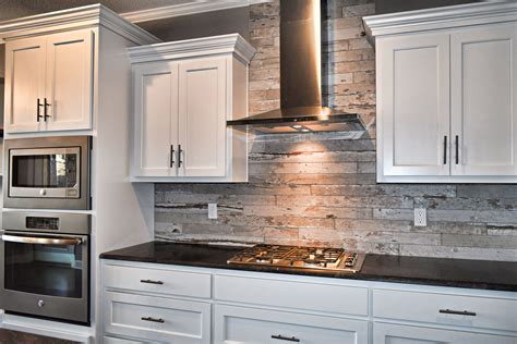 white cabinets wood  tile kitchen backsplash flat