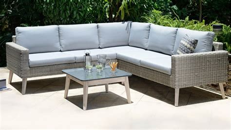 grey rattan corner sofa garden furniture