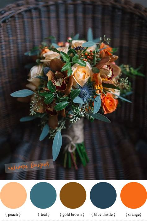 blue peach  teal wedding bouquet perfect  fall wedding