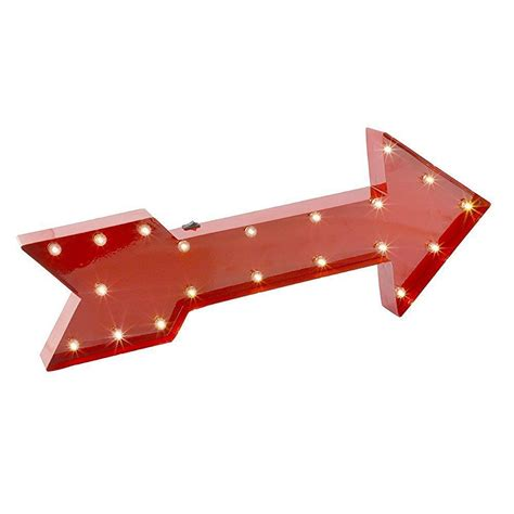 Large Vintage Style LED Metal Red Arrow Wall Art ...