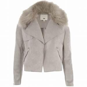Veste En Daim Grise : veste en daim avec fourrure vestes la mode 2018 ~ Melissatoandfro.com Idées de Décoration