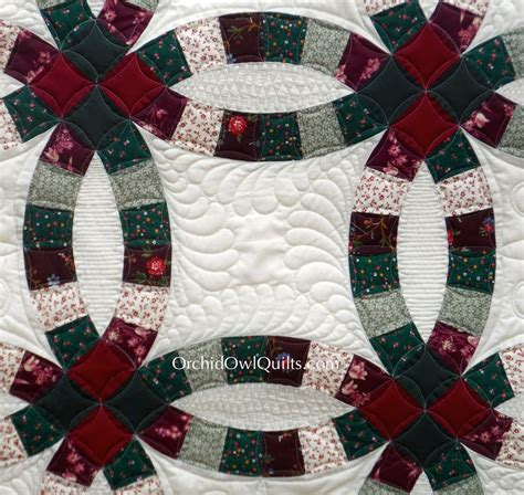 wedding ring quilt longarm quilting orchid owl